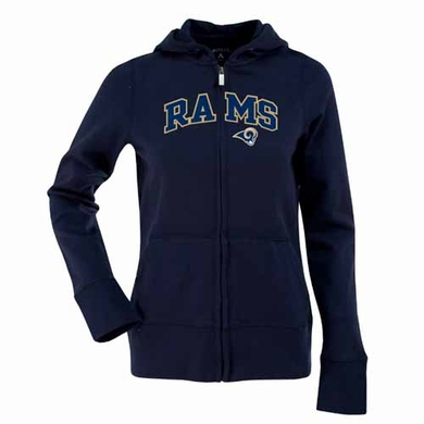 St Louis Rams Applique Womens Zip Front Hoody Sweatshirt (Team Color: Navy)