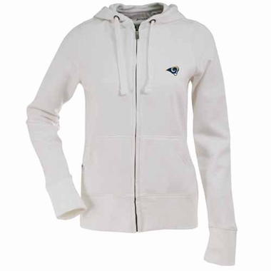 St Louis Rams Womens Zip Front Hoody Sweatshirt (Color: White)