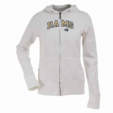 St Louis Rams Applique Womens Zip Front Hoody Sweatshirt (Color: White)