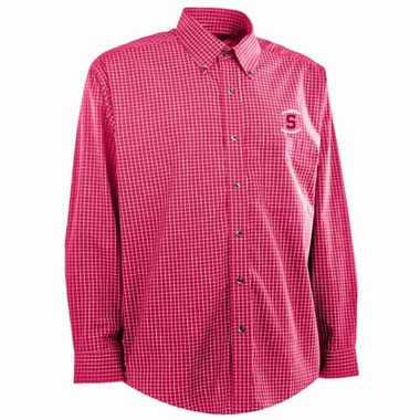 Stanford Mens Esteem Check Pattern Button Down Dress Shirt (Team Color: Red)
