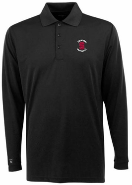 Stanford Mens Long Sleeve Polo Shirt (Team Color: Black)