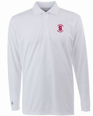 Stanford Mens Long Sleeve Polo Shirt (Color: White)