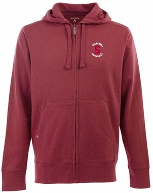 Stanford Mens Signature Full Zip Hooded Sweatshirt (Team Color: Maroon)