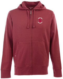 Stanford Mens Signature Full Zip Hooded Sweatshirt (Color: Maroon) - Small
