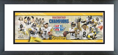 Super Bowl  XL -  Steelers Champions. Framed / Double Matted Photoramic