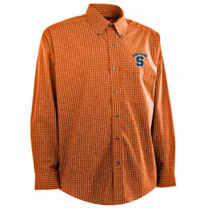 Syracuse Mens Esteem Check Pattern Button Down Dress Shirt (Team Color: Orange) - Medium