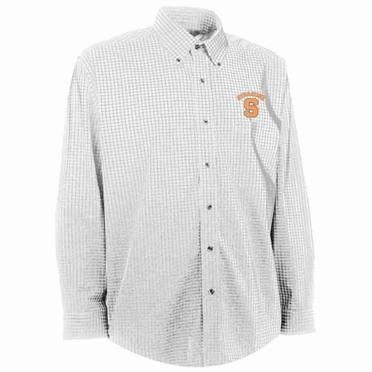 Syracuse Mens Esteem Check Pattern Button Down Dress Shirt (Color: White)