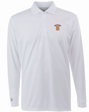 Syracuse Mens Long Sleeve Polo Shirt (Color: White)