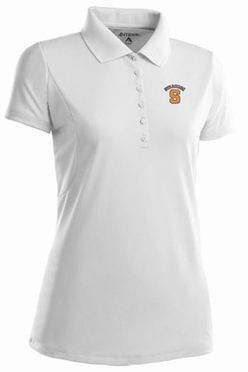 Syracuse Womens Pique Xtra Lite Polo Shirt (Color: White)