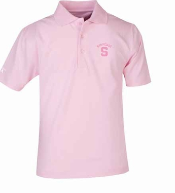 Syracuse YOUTH Unisex Pique Polo Shirt (Color: Pink)