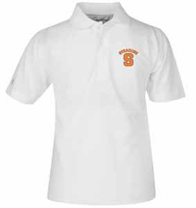Syracuse YOUTH Unisex Pique Polo Shirt (Color: White) - Large