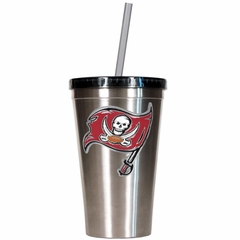 Tampa Bay Buccaneers 16oz Stainless Steel Insulated Tumbler with Straw
