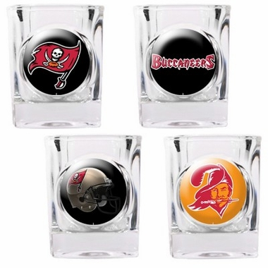 Tampa Bay Buccaneers 4 Piece Assorted Shot Glass Set