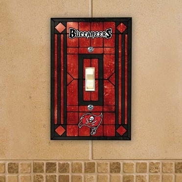 Tampa Bay Buccaneers Art Glass Lightswitch Cover