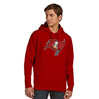 Tampa Bay Buccaneers Big Logo Mens Signature Hooded Sweatshirt (Team Color: Red) - Medium