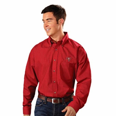 Tampa Bay Buccaneers Mens Esteem Check Pattern Button Down Dress Shirt (Team Color: Red)