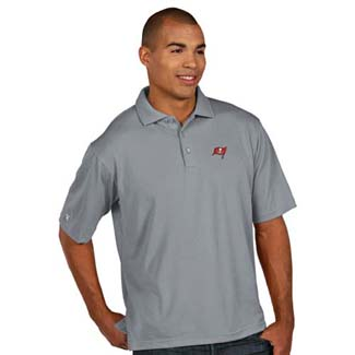 Tampa Bay Buccaneers Mens Pique Xtra Lite Polo Shirt (Color: Gray) - X-Large