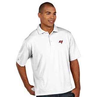 Tampa Bay Buccaneers Mens Pique Xtra Lite Polo Shirt (Color: White) - Large