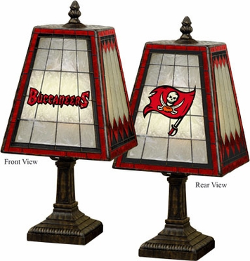 Tampa Bay Buccaneers Small Art Glass Lamp