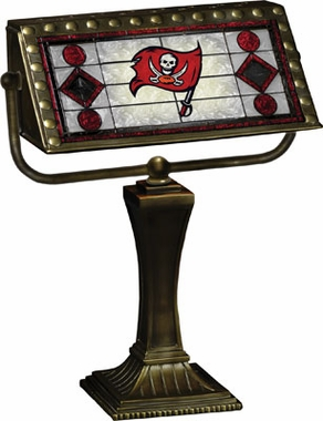 Tampa Bay Buccaneers Stained Glass Bankers Lamp
