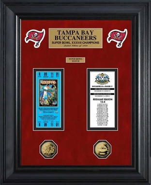 Tampa Bay Buccaneers Tampa Bay Buccaneers Super Bowl Ticket and Game Coin Collection Framed