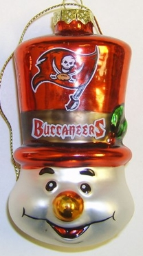 Tampa Bay Buccaneers Tophat Snowman Glass Ornament