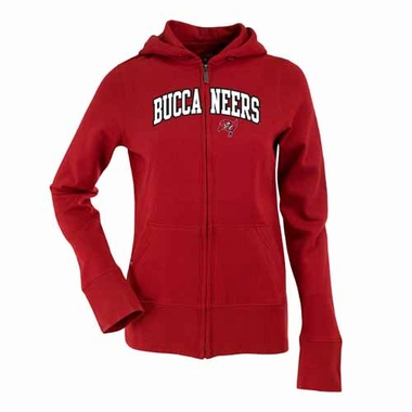 Tampa Bay Buccaneers Applique Womens Zip Front Hoody Sweatshirt (Team Color: Red)