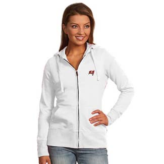 Tampa Bay Buccaneers Womens Zip Front Hoody Sweatshirt (Color: White) - Large
