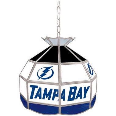 Tampa Bay Lightning 16 Inch Diameter Stained Glass Pub Light
