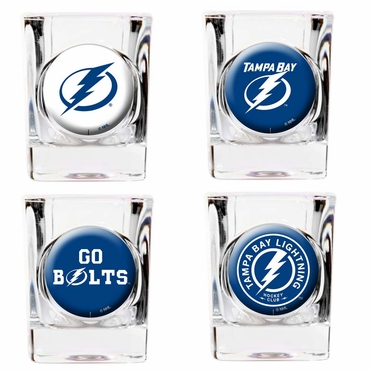 Tampa Bay Lightning 4 Piece Assorted Shot Glass Set