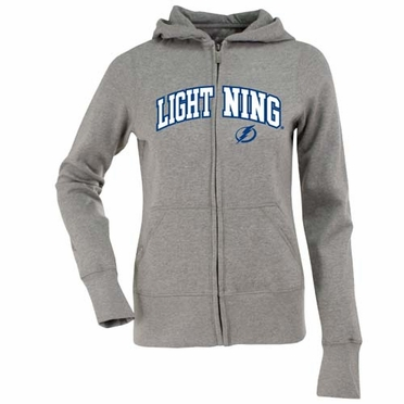 Tampa Bay Lightning Applique Womens Zip Front Hoody Sweatshirt (Color: Gray)