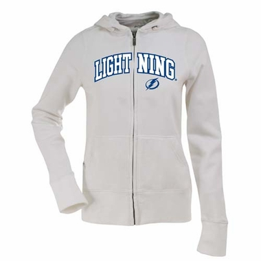 Tampa Bay Lightning Applique Womens Zip Front Hoody Sweatshirt (Color: White)