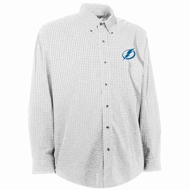 Tampa Bay Lightning Mens Esteem Check Pattern Button Down Dress Shirt (Color: White)