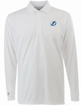 Tampa Bay Lightning Mens Long Sleeve Polo Shirt (Color: White)