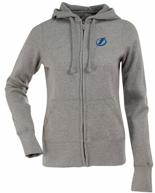 Tampa Bay Lightning Womens Zip Front Hoody Sweatshirt (Color: Gray)