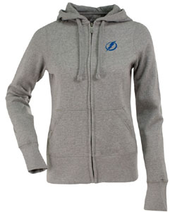 Tampa Bay Lightning Womens Zip Front Hoody Sweatshirt (Color: Gray) - Large