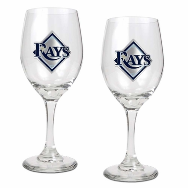 Tampa Bay Rays 2 Piece Wine Glass Set