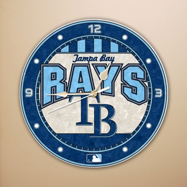 Tampa Bay Rays Art Glass Clock