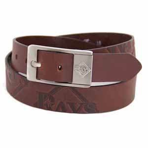 Tampa Bay Rays Brown Leather Brandished Belt - 32 Waist