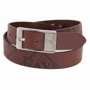 Tampa Bay Rays Brown Leather Brandished Belt
