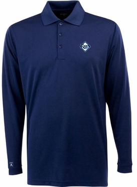 Tampa Bay Rays Mens Long Sleeve Polo Shirt (Team Color: Navy)