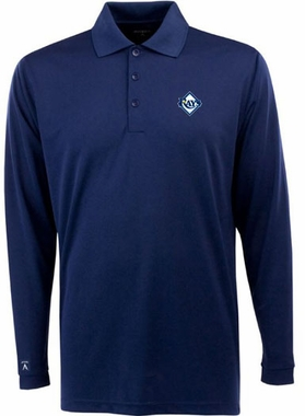 Tampa Bay Rays Mens Long Sleeve Polo Shirt (Color: Navy)