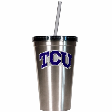 TCU 16oz Stainless Steel Insulated Tumbler with Straw