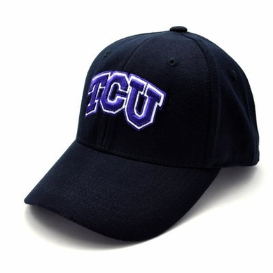 TCU Black Premium FlexFit Baseball Hat