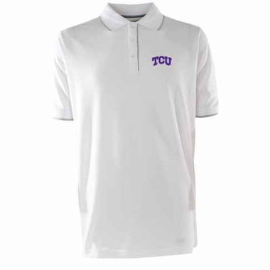 TCU Mens Elite Polo Shirt (Color: White)