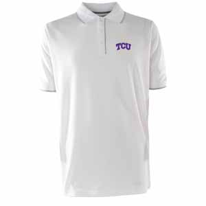 TCU Mens Elite Polo Shirt (Color: White) - Large