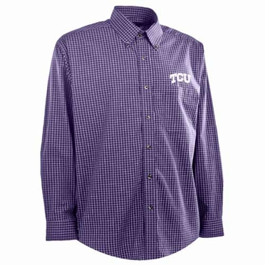 TCU Mens Esteem Check Pattern Button Down Dress Shirt (Team Color: Purple)