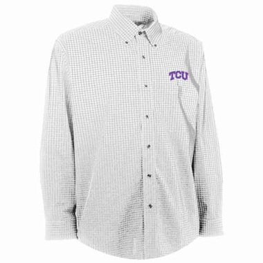 TCU Mens Esteem Check Pattern Button Down Dress Shirt (Color: White)