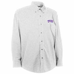 TCU Mens Esteem Check Pattern Button Down Dress Shirt (Color: White) - Medium