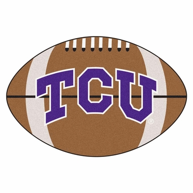 TCU Football Shaped Rug